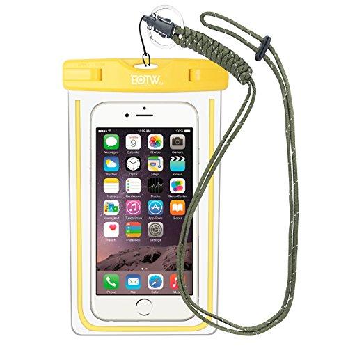 iPhone6/Samsung 防水ケース EOTW® 防水携帯ケース アウトドア潜水 温泉 釣り お風呂 水泳 砂浜等最適な防水袋 スマホケース・カバー 救助用ネックストラップ付属 防水国際保護等級:IPX8認定獲得 iPhone 6 Plus/ Samsung Galaxy/Nexus/Sonyなど全機種対応 スマートフォン用防水・防塵ケース (イエロー)