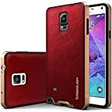 Galaxy Note 4 Case, Caseology [Bumper Frame] Samsung Galaxy Note 4 Case [Leather Burgundy Red] Slim Fit Skin Cover [Shock Absorbent] TPU Bumper Galaxy Note 4 Case [Made in Korea] (for Samsung Galaxy Note 4 Verizon, AT&T Sprint, T-mobile, Unlocked)
