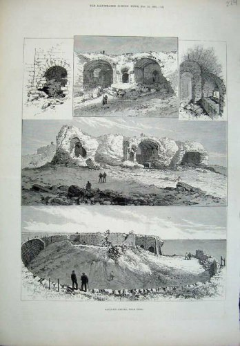 1882 Sandown Castle Deal Ruins Buildings Men Old Print