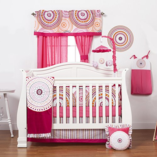 One Grace Place Sophia Lolita Infant Crib Bedding Set, White/Pink/Berry/Black - 1