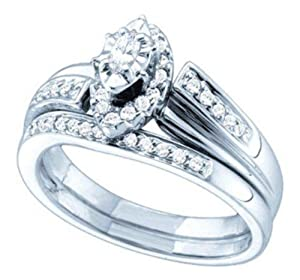 14K White Gold Diamond Halo Style Wedding Engagement Ring Set - Lesbian Wedding