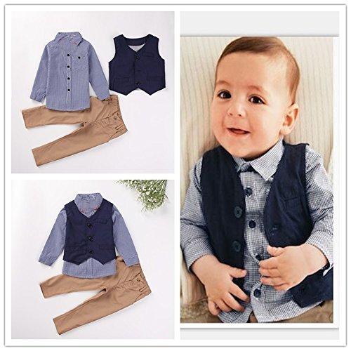 TheTickleToe Kids Baby Boys Kids Birthday Suit Party Cotton Blue Check Shirt+ Waist Jacket + Khaki Pants 3 Piece Set 12-24 Months