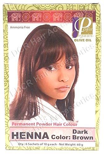 profix organics huile dolive permanent poudre coloration cheveux henn brun fonc 6 sachets de - Coloration Brun Fonc