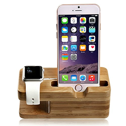 COOLEAD Bamboo Desktop Charging Dock Stand Docking Station Holder Cradle for Apple Watch,iPhone S6 S5 S4 NOTE 4 3 Google Nexeus or other Smartphone ( Charging Cable and Apple Watch NOT Included )