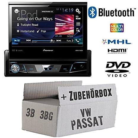 VW Passat 3B + 3BG - Pioneer AVH-X7800BT - 1-DIN 7-Zoll USB Bluetooth DVD - Autoradio - Einbauset