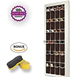 Coffee Brown Over the Door Shoe Rack by Organized Boss - Complete Bundle for Hanging Closet Kids Storage - Shoe Organizer, Shoe Sponge and Free Organization 101 E-book