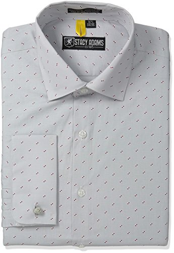 Stacy Adams Men's Rockdale Dress Shirt, Gray, 18