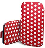 Excellent Accessories - Blackberry Curve 9360 / 9380 - Red & White Multi Polka Dot Design Pull Tab Protective Pouch Case Cover With Pull Tab Function