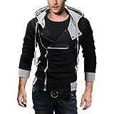 DJT Men's Oblique Zipper Hoodie Casual Top Coat Slim Fit Jacket Black XL
