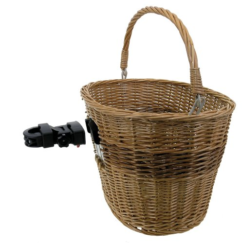 M-Wave Wicker Bicycle Basket With Clip-on Bracket