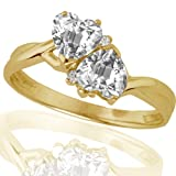 10k Yellow Gold White Topaz and Diamond Heart Ring (.02 cttw, I-J Color, I1 Clarity), Size 6
