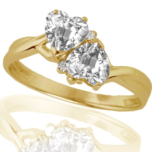 10k Yellow Gold White Topaz and Diamond Heart Ring (.02 cttw, I-J Color, I1 Clarity)
