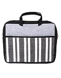 Beautiful Cotton Striped Laptop Bag Black Printed By Rajrang