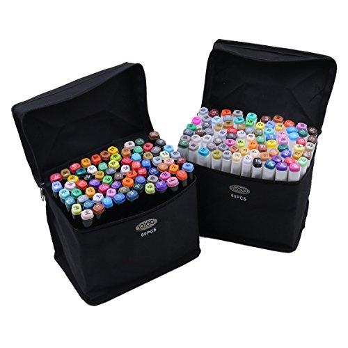 new-jojoo-colori-art-60-pennarelli-multicolore-doppio-fine-pennarelli-con-punta-doppia-motivo-con-pe