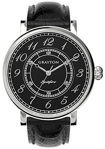 Grayton Spitfire Men's Quartz Watch with Black Dial Analogue Display and Black Leather Strap GR-0014-001.3