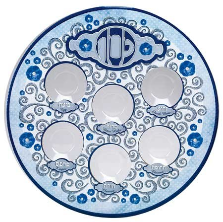 rite-lite-printed-laminate-elegant-seder-plate-with-attached-plastic-liners-11-inch-blue-and-white
