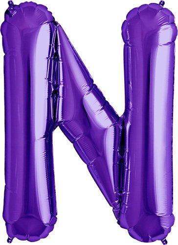 Letter N - Purple Helium Foil Balloon - 34 inch