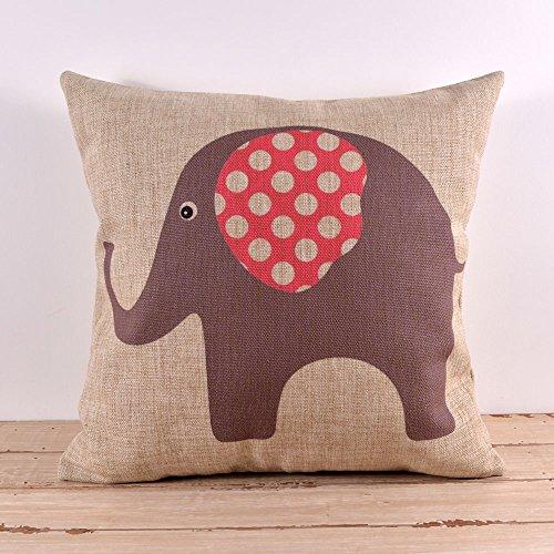 45X45Cm Cute Elephant Grey Pink Dot Cute Burlap Cushion Covers Pillow Cases Kid Decor front-522136