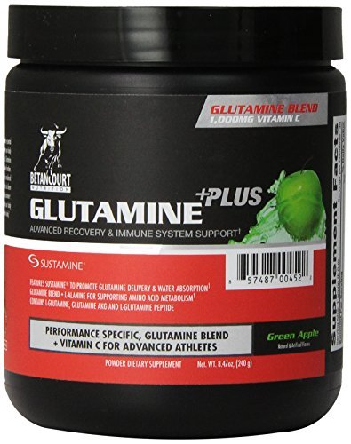 Betancourt Nutrition Glutamine Plus Dietary Supplement, Green Apple, 240 Gram