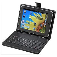 ECellStreet PU LEATHER Keyboard FLIP CASE COVER FOR Lenovo A7-50 A3500 7 INCH TABLET STAND COVER HOLDER With Stylus - Black