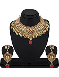 REEVA ANTIQUE MULTI STONES KUNDAN NECKLACE SET WITH AUSTRIAN DIAMOND