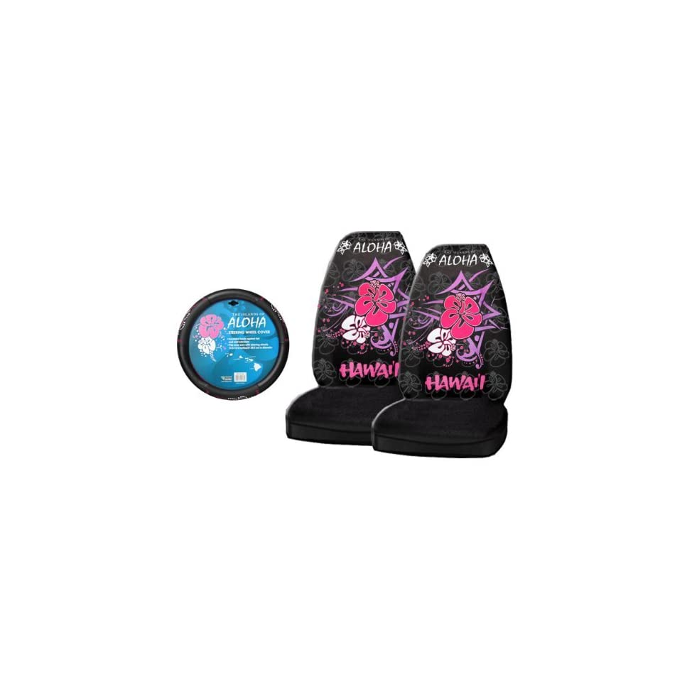 3 Piece Hawaii Aloha Pink Automotive Interior Gift Set   2 Universal fit Front Bucket Seat Covers and One Comfort Grip Steering Wheel Cover