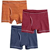 City Threads Little Boys' Striped Boxer Briefs 3-pack, Midnight/Red/Orange, 5