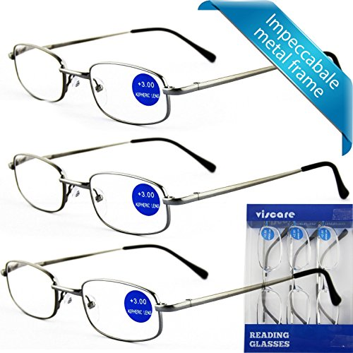 IMPECCABLE METAL frame and crystal clear vision - Viscare 3-Pack Men Women Metal Spring Hinged Full Frame Reading Glasses Readers With Case n Cloth +1.50 (Full Reading Glasses compare prices)