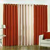 PINDIA 3 PC COMBO Faux Silk Eyelet Door Window Curtain, Polyester Plain Ringtop - 5ft Rust2 Cream1