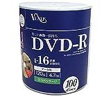 VENUS DVD-R 4.7GB 1-16倍速対応 100枚 エコパッケージ データ・アナログ映像のパソコンでの記録用・スピンドルケース入り・インクジェットプリンタでのワイド印刷可能 B-VR47-16X100PW