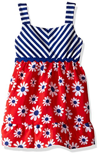 Youngland Girls' Little Striped to Floral Koshibo Sundress, Red/White/Blue, 4