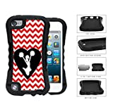 Cheerleader Heart Shaped Silhouette With Red Chevron 2-Piece Dual Layer High Impact Rubber Silicone Case Cover Apple iPod Touch 5th Generation