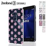 MIxUP ZenFone 3 ZE520KL デザイン バック カバー ケース 簡単装着 衝撃吸収 TPU ソフトケースカバー ASUS ゼンフォン ZenFone3 5.2 インチ ドット 水玉 dot クリア ピンク MXP-z352-2DOT-cl/PK