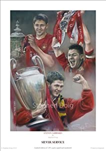 STEVEN GERRARD, LIVERPOOL, 'Silver Service', Limited Edition Fine Art Giclee Print by Stephen Doig. Only 295 copies worldwide.