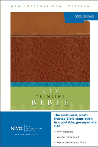 NIV Thinline Bible, Italian Duo-Tone, Tan/Dark Tan