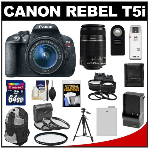 Get a Canon EOS Rebel T5i Digital SLR Camera & EF-S 18-55mm IS STM Lens with EF-S 55-250mm IS Lens + 64GB Card + Battery + Backpack + Tele/Wide Lenses Kit