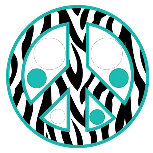 Zebra Print / Stripe Polka Dots & Peace Sign Repositionable Wall Decals, Teal front-1070859
