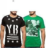 Yo Republic Mens Cotton Tshirt Combo Offer (Pack of 2)(AT-0071-1XL_Black_Green_X-Large)