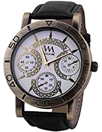 Watch Me White Dial Black Leather Watch For Men And Boys WMAL-093-W