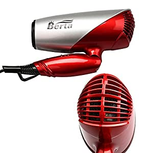 Berta 1875W Negative Ionic Folding Hair Dryer Dual Voltage Travel Blow Dryer US Plug 125-250V,Silver with Red