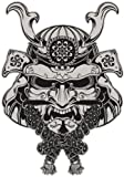 JAPANESE SAMURAI DEMON MASK GREY BLACK Vinyl Decal Sticker Two in One Pack (4 Inches Tall)