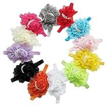 12pcs Baby Girls Hairband Kids Flowers Headbands Hair Accessories Bands Headband