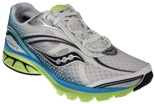 Saucony Women's Progrid Kinvara 2 Running Shoe,White/Blue/Citron,7 M US