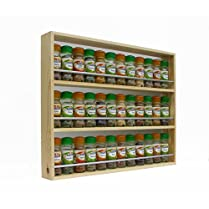 Solid Pine Spice Rack Up To 36 Jar Capacity 3 Tiers