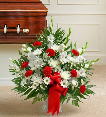 1-800-Flowers – Tribute Red & White Floor Basket Arrangement – Small