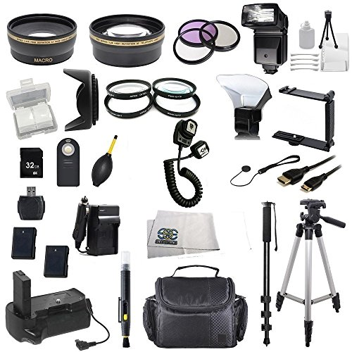 The Everything You Need Package For Nikon D5100, Nikon D5200 Digital Slr Cameras. Includes: Wide Angle & Telephoto Lenses, Filters, Replacement En-El14 Batteries, Flash, Tripod, Monopod, Case, 32Gb Memory Card & Much Much More!