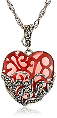 Sterling Silver Marcasite and Red Gla…