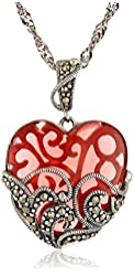 Sterling Silver Marcasite and Gemstone -Colored Glass Heart Pendant Necklace, 18""