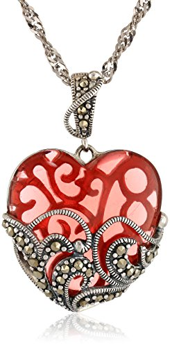 """Sterling Silver Marcasite and Red Glass Heart Pendant, 18"""""""
