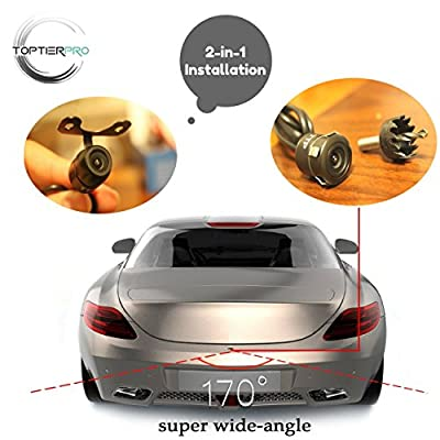 TopTierPro 2-in-1 Car Rear View Backup Camera - Distance Scale Line Switch On/Off Reverse Camera - Waterproof & Night Vision High Quality Color Lens - Universal from The Rear View Camera Center